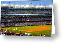 Derek Jeter Leads The Way As The Yankees Take The Field Greeting Card