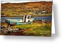 Derelict Fishing Boat On The Irish Coast Greeting Card