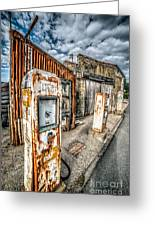 Derelict Gas Station Greeting Card by Adrian Evans