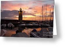 Desenzano Del Garda Marina Old Lighthouse Sunrise Greeting Card