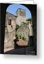 Desert Alley In San Gimignano Greeting Card