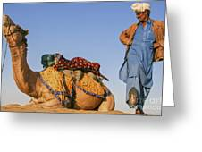 Desert Dance Of The Dromedary And The Camel Driver Greeting Card
