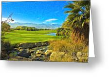 Desert Golf Resort Pastel Photograph Greeting Card