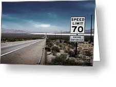 Desert Highway Road Sign Greeting Card