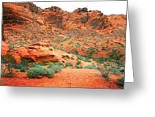 Desert Hiking Among The Sandstones Greeting Card