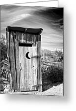 Desert Outhouse Under Stormy Skies Greeting Card