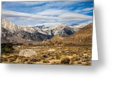 Desert View Of Majestic Mount Whitney Mountain Peaks With Clouds Greeting Card