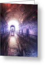 Deserted Prison Hallway Greeting Card