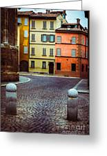 Deserted Street With Colored Houses In Parma Italy Greeting Card