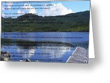 Desiderata On Pond Scene With Mountains Greeting Card