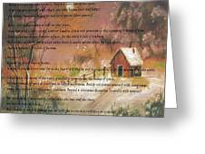Desiderata On Snow Scene With Cabin Greeting Card
