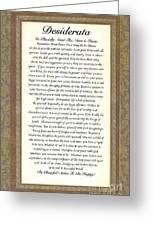 Desiderata Poem By Max Ehrmann Greeting Card