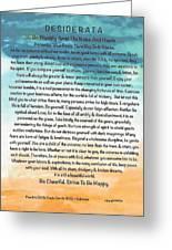 Desiderata Poem On Brighton Beach Watercolor Greeting Card