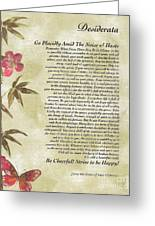 Desiderata Poem With Bamboo And Butterflies Greeting Card