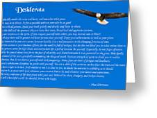 Desiderata With Bald Eagle Greeting Card