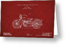 Original Design For A 1928 Harley Motorcycle Greeting Card