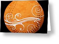 Designer Orange Baseball Square Greeting Card
