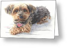 Desktop Calendar Yorky Dog Watercolor Portrait Greeting Card