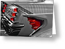 Desoto Red Tail Lights In Black And White Greeting Card