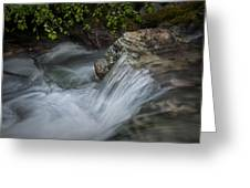 Detail Of A Small Water Fall In A Stream Greeting Card