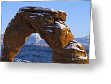 Detail Of Delicate Arch With Snow Arches National Park Utah Greeting Card
