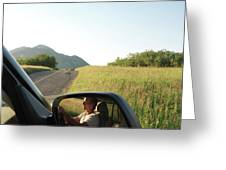 Detail Of Man In Side Mirror Of Car Greeting Card