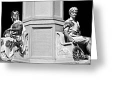 Detail Of Monument Statues - Bw Greeting Card