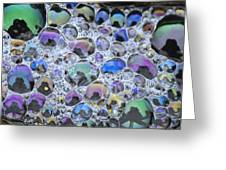 Detail Of Rainbow-colored Bubbles Greeting Card