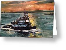 Detail Of Tugboat In Upper New York Bay  Greeting Card
