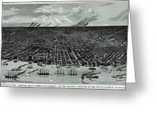 Detroit Aerial View 1889 Greeting Card