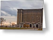 Detroit Central Station And Ambassador Bridge  Greeting Card