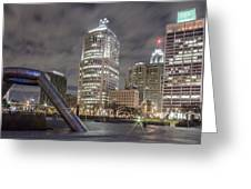Detroit Fountain And Cityscape Greeting Card