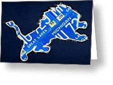 Detroit Lions Football Team Retro Logo License Plate Art Greeting Card by Design Turnpike
