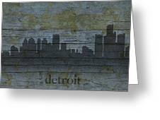 Detroit Michigan City Skyline Silhouette Distressed On Worn Peeling Wood Greeting Card