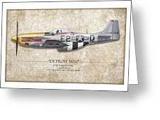 Detroit Miss P-51d Mustang - Map Background Greeting Card