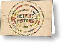 Detroit Pistons Vintage Logo Greeting Card