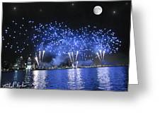 Detroit River Fireworks Greeting Card by Michael Rucker