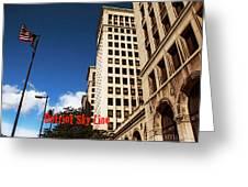 Detroit Sky Line Greeting Card
