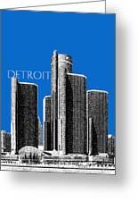 Detroit Skyline 1 - Blue Greeting Card