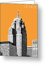 Detroit Skyline 2 - Orange Greeting Card