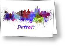 Detroit Skyline In Watercolor Greeting Card