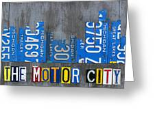 Detroit The Motor City Skyline License Plate Art On Gray Wood Boards  Greeting Card