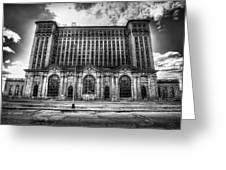 Detroit's Abandoned Michigan Central Train Station Depot In Black And White Greeting Card