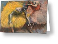 Deux Danseuses Jaunes Et Roses Greeting Card