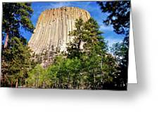 Devil's Tower Through The Trees Greeting Card