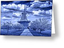 deZwaan Holland Windmill in Delft Blue Greeting Card