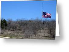Dfw National Cemetery Flag On The Hill Greeting Card