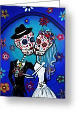 Dia De Los Muertos Kiss The Bride Greeting Card