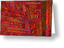 Diagonal Tiles In Reds Greeting Card
