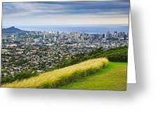 Diamond Head And The City Of Honolulu Greeting Card